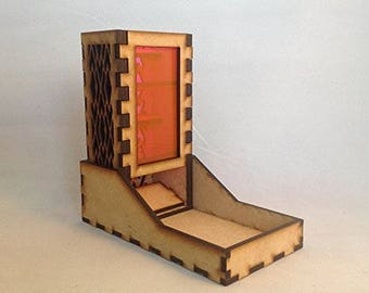 Mini Dice Tower and Tray v4 Neon Pink Acrylic Window Laser Cut MDF Unique