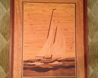Marquetry Nautical Wood Art by Jeff Nelson/Jeff Nelson Large 23 X 18 Sailboat Inlaid Wood Framed/Nautical Art Signed NELSON