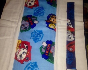 Paw Patrol Burp Cloth & Paw Patrol Pacifier Clip Set-Dark and Light Blue Paw Patrol Badges Fabric-Lead free Pacifier Clip to Match Material
