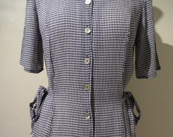 True Vintage Blue Navy White Gingham Check Midi Tea Button Up Dress size UK 8 10 Small