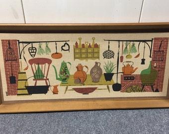 Mid Century Robert Darr Wert framed linen screen print art