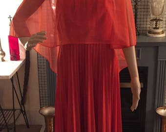 Vintage burnt orange empire waist pleated dress with sheer top and crochet collar