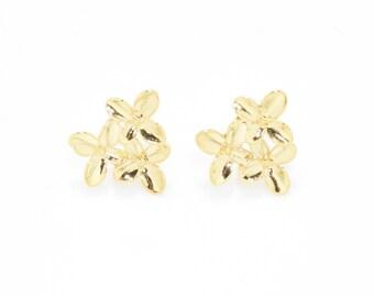 Flower Post Earring . Earring Component . Wedding Earring . Bridal Earring . 16K Polished Gold Plated over Brass - 2pcs / JM0044-PG