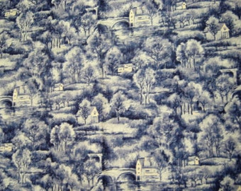 Painter's Terrace Toile Fabric*Blue and White Cotton*Fabri-Quilt*Quilting Fabric*Village Scene*Sewing Fabric*Fabric by the Yard*Retired