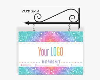 LLR Yard Sign Banner * Home Office Approved Fonts & Colors * 18x27 * Yard Sign for your Shop * Pop Up Shop Boutique * Rainbow * Shop Banner