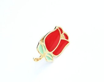 Cute Red Rose Green Leaves Purse and Clothes Brooch Pin