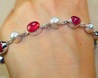 Genuine Cherry Tourmaline withe River Pearl set in 925 Sterling Silver Bracelet