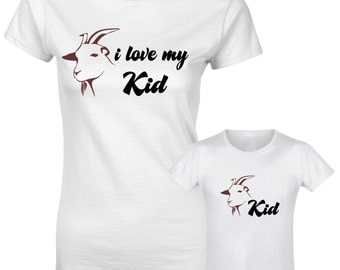 I Love My Kid Kid Goat Character Slogan Mother Daughter Son Mum Matching T shirt
