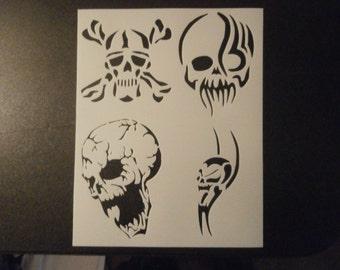 Skulls Skull Tribal Custom Stencil FAST FREE SHIPPING