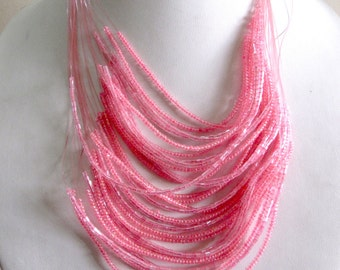 Light Weight Pink Bead Necklace / Statement Necklace / Bib Necklace / Beaded Jewelry