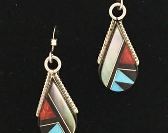 Native American Zuni Cleo Kallestewa Mixed Gemstone Sterling Silver Earrings