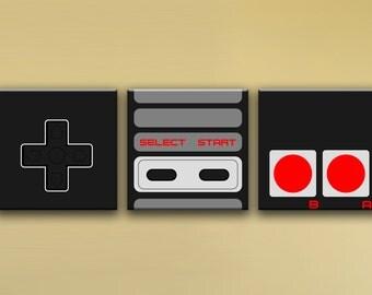 "NES Controller, 3-Piece Mural (48"" x 16"") - Canvas Wrap Print"