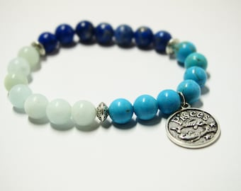 Pisces Zodiac Bracelet with Aquamarine, Lapis Lazuli & Turquoise Gemstones/Horoscope Astrology Jewelry for Star Signs/