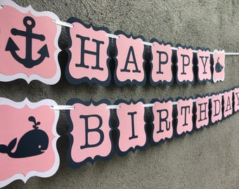 Nautical birthday banner, whales birthday banner, pink and blue banner