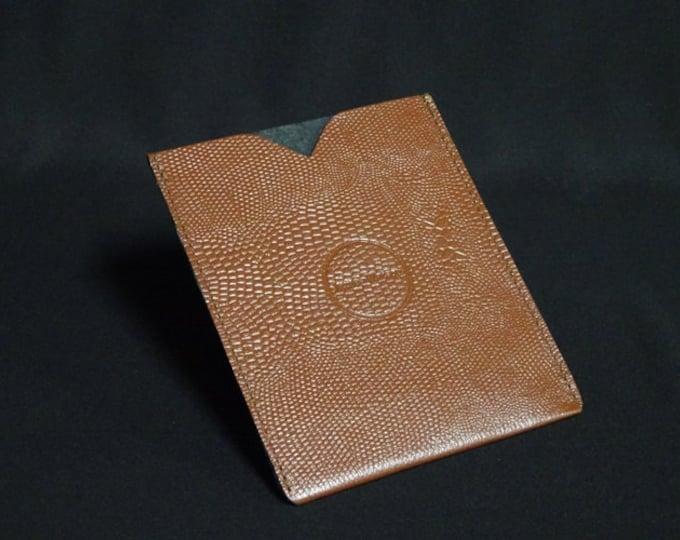 Passport Sleeve - Brown Snake Texture - Kangaroo leather with optional RFID chip blocking - Handmade - James Watson