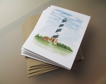 Cape Hatteras Lighthouse Watercolor Note Card Set | Blank Note Cards | Hand Painted | Watercolor Painting