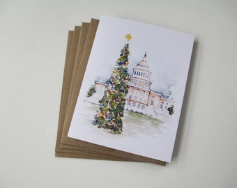 Capitol Christmas Watercolor Note Card Set | Blank Note Cards | Hand Painted | Watercolor Painting