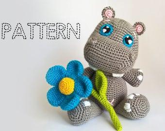 Baby Hippo Crochet Pattern, Hippopotamus Amigurumi Pattern, Amigurumi Animals, Crochet Dolls, Plushies, crochet toys, stuffed animals