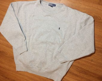 Vintage polo Ralph Lauren sweater mens xl 90s grey pony
