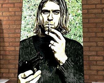 Kurt Cobain Handmade Spray Painting Onto Canvas - Nirvana