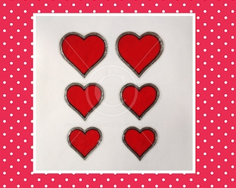Hearts / heart window clings, set of 6 for glass & window areas, reusable faux stained glass effect decal, static cling suncatcher decals
