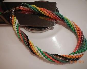 Multi-strand Rainbow Beaded Necklace