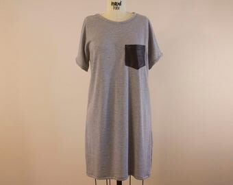 Grey Short Sleeve Shift Dress with Faux Leather Pocket