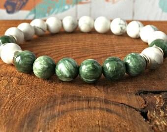 Howlite & Seraphinite Bracelet, Yoga Mala Beads, Energy Crystals, Heart Chakra Jewelry,  Healing the Heart - Stress Relief -Meditation