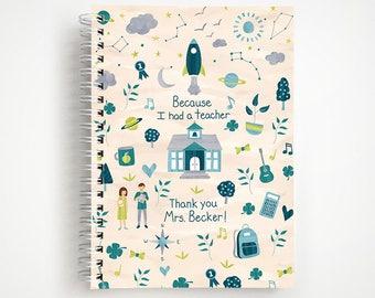 Because I Had a Teacher Custom Notebook - Blue   Journal   Teacher Gift   Thank You