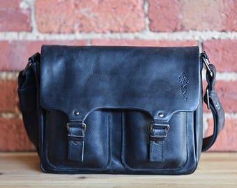 Real leather Black Messenger bag