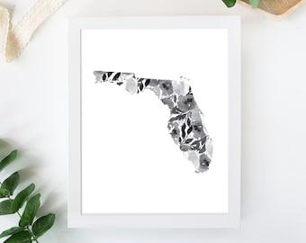Watercolor Floral Florida State Map Print
