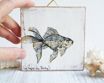 Miniature painting - goldfish print on wood, Rustic wall art print, Wood sign, Shabby chic, Back to school