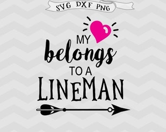 Lineman SVG Football Svg Cutting File Sports Svg Heart svg Valentines day svg files for Silhouette Cricut downloads Cricut files Girl svg