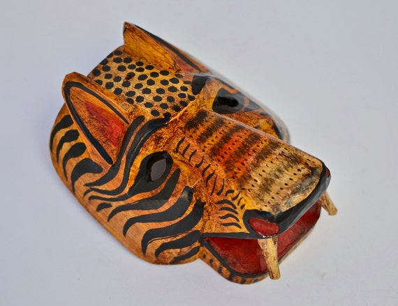 animal mask tiger jaguar mask hand by handcraftguatemala
