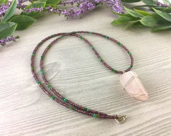 Pink Gemstone Necklace >> Rose Quartz Crystal Natural Stone >> Bohemian Nature Jewelry >> Gifts For Her >> Women's Boho Pendant Necklace
