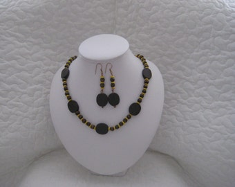 Brown and Yellow Wooden Necklace and Earring Set, Chilling in the Sands, Gift,