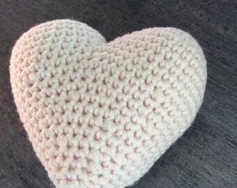 Pale pink heart crochet