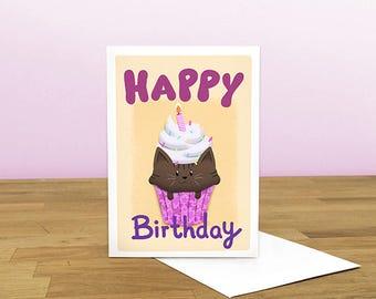 Happy Birthday Cat Cake Card, Cat card, Cute Card, CupCake Card, BirthDay Card, Blank Card,