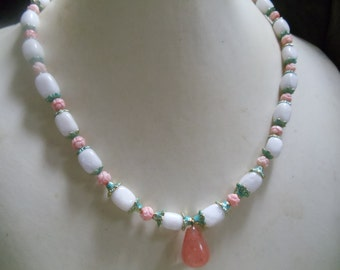 Lilly white jade with cherry quartz and carved shell Pearl Jewelry