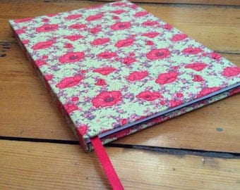 A5 Notebook with a Red Poppy Fabric