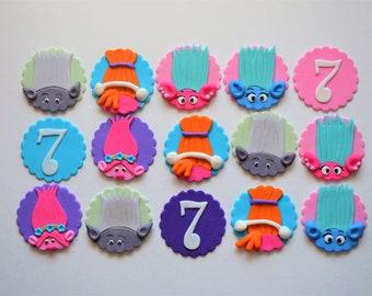 Trolls fondant cupcake toppers, Trolls cake topper