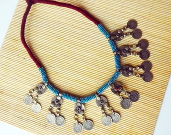 Kuchi Necklace Afghan Necklace Bedouin Necklace Afghani Necklace Tribal Necklace Gypsy Necklace Arabic Coin Necklace Banjara Necklace