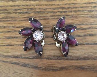 Vintage Amethyst Purple and Lavender  Rhinestone Flower Clip Earrings 1144