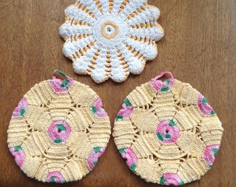 Set of three lace trivets or hotpads