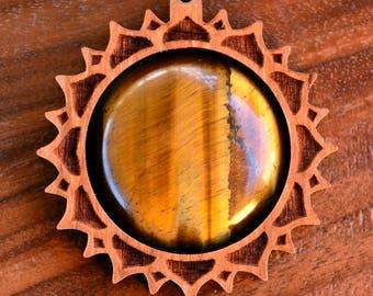 Lotus Mandala Gemstone Hardwood Pendant - Crystal Gem Custom Sacred Geometry Laser Cut Natural Wood Wooden LT10067