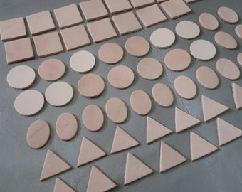 Leather Die Cut, 20 mm. (2 cm.), Natural,  Vegetable Tanned Leather, 4 Shape Squares Circles Ovals & Triangles, DIY Projects.