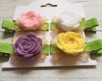 Flower Baby Hair Clips, No-Slip Clips, Toddler Hair Clips, Baby Barrettes, No-Slip Baby Barrettes, Flower Hair Clip, Barrettes For Baby,