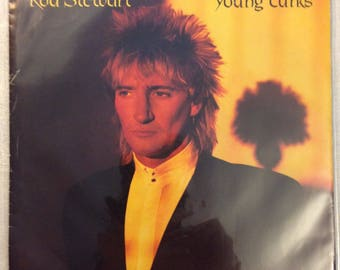 """Rod Stewart Young Turks / Sonny 7"""" vinyl picture sleeve 1981 Warner Brothers Records 45 rpm"""