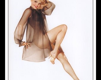 """Alberto Vargas Vintage Pinup Illustration Sexy Nude Pinup Mature Wall Art Deco Double Sided Book Print 9"""" x 12.75"""" AV01"""