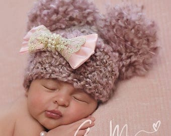 Baby Girl Pom Pom Hat... Newborn Baby Girl... Crochet  lace pearl bow Hat...  Girl baby Photography Prop ....PINK  infant hat girl hats